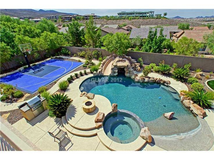 Fire Pit By The Pool Shallow Area For The Kids In The Pool And Replace Basketball Court With