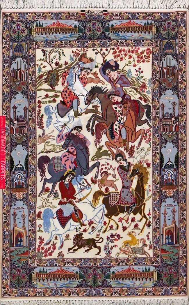 Buy Esfahan Persian Rug 3 7 X 5 7 Authentic Esfahan Handmade Rug Keleti Szonyeg Szonyeg