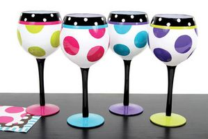 Polka Dot Hand Painted Wine Glass. Dollar store glasses. Craft project??