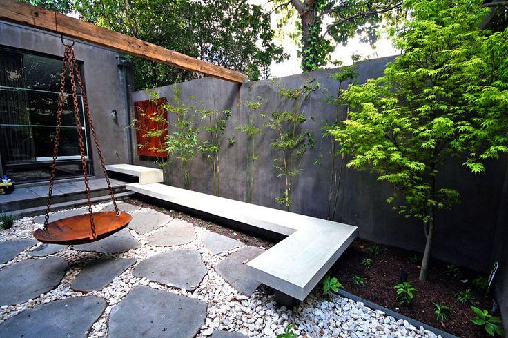 Contemporary Courtyard Covering : concrete bench courtyard design modern garden design modern gardens ...