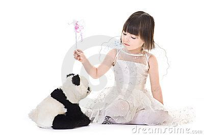 Girl with angel wings casting spell on a panda by Nusho4ka, via Dreamstime