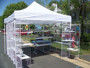 grid wall and a pop up, great for out door events
