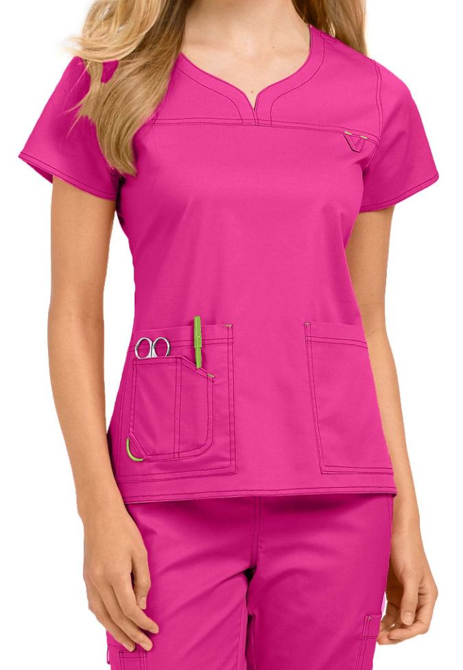 MC2 by Med Couture Lexi notch neck scrub top. Main Image