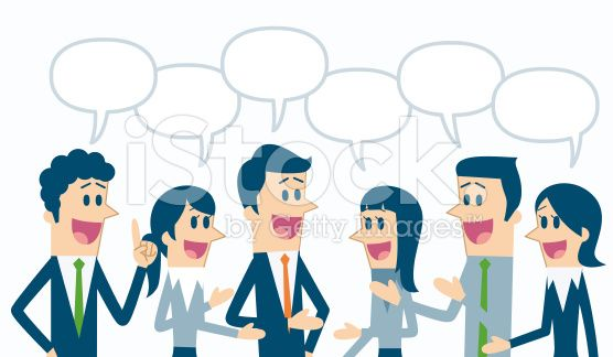 Business people with speech bubbles royalty-free stock vector art. +++ images