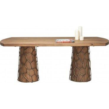 Une table en bois originale qui apportera une touche de chaleur et de convivialité dans votre pièce grâce à son bois d'acacia et ses pieds recouverts d'une structure en fer. Table en bois Mesh Brass 200x100 cm Kare Design