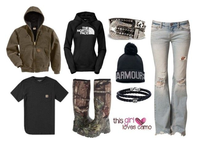 """""""Camo princess"""" by im-a-jeans-and-boots-kinda-girl on Polyvore featuring Free People, The North Face, Carhartt, Under Armour, Bogs, Phillip Gavriel and country"""