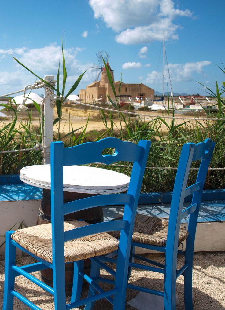 Cafe at salinas between Trapani and Marsala. Sicily, Italy. Photo from pozornie-zalezna.blog.pl