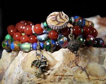 Bracelet - Bracelet à breloques bijoux - Bracelet Dragon - Dragon Dragon - bijou en perles Cornaline Bijoux - Bracelet cornaline - cornaline