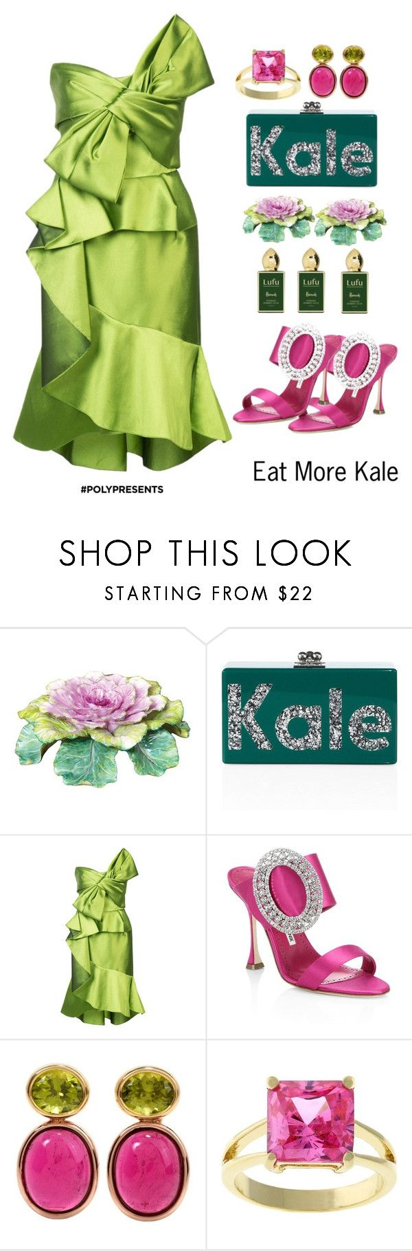 """#PolyPresents: New Year's Resolutions"" by shamrockclover ❤ liked on Polyvore featuring Kale, Edie Parker, Marchesa, Manolo Blahnik, Kate Bissett, Stéphane Humbert Lucas, contestentry and polyPresents"