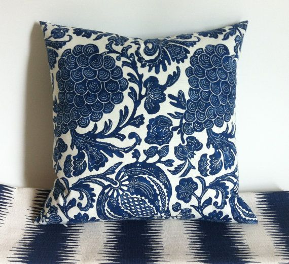 One indigo Batik pillow cover hand made from gorgeous P. Kaufmann designer fabric with random floral, grape and pomegranate designs. In addition to