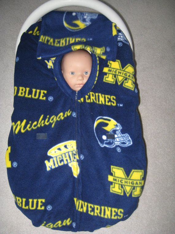 Michigan Wolverines fleece infant car seat cover by