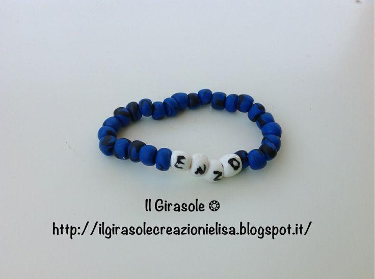 #inter #polymerclay #braccialetto #bracelet #soccer #idearegalo #handmade #enzo #artisan #fimo #beads #blu #blue #black #nero #child #bambini #calcio