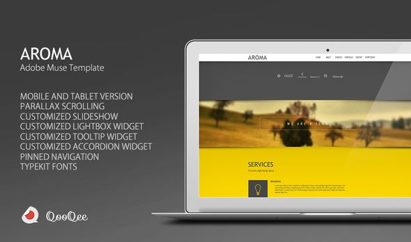 Aroma | One Page Muse Theme - Creative Muse Templates