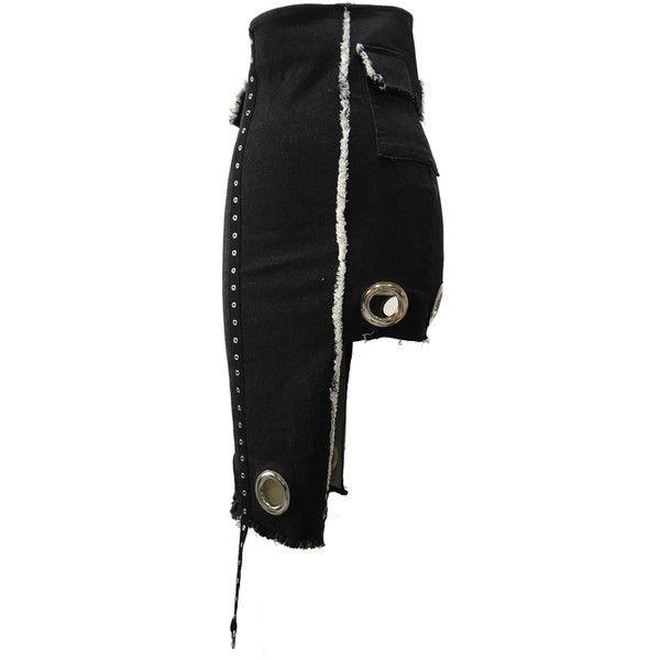 EYELET DENIM TIGHT SKIRT ($125) ❤ liked on Polyvore featuring skirts, knee length denim skirt, eyelet skirts and denim skirt