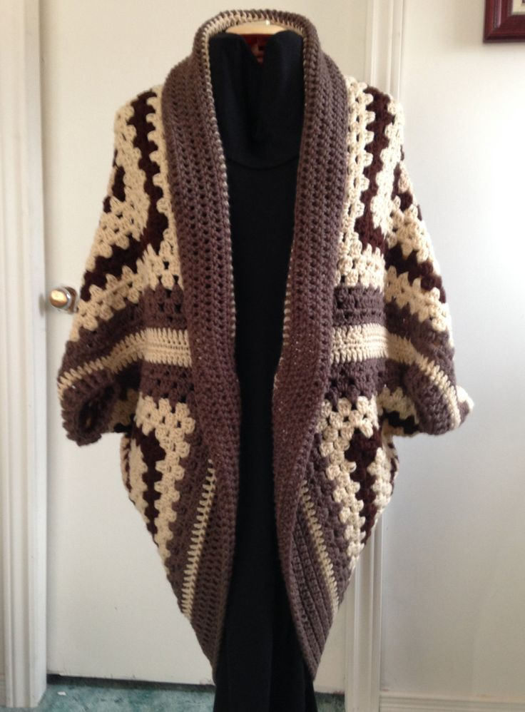 Crochet Granny Square Cocoon Sweater Cardigan Shrug in Brown and Tan, perfect for Fall or Winter, makes a lovely Gift for Her, Women, Teens by HandmadebyHeikeHeart on Etsy