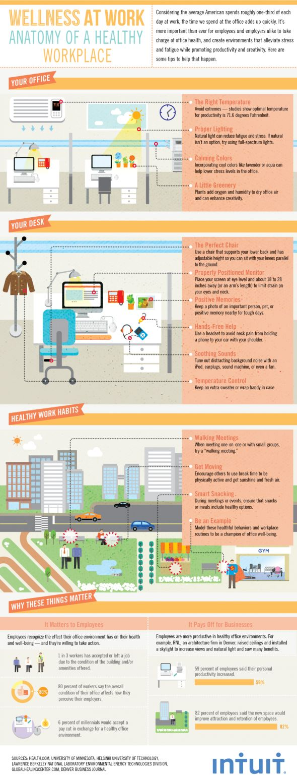 Wellness at Work anatomy of a healthy workplace infographic