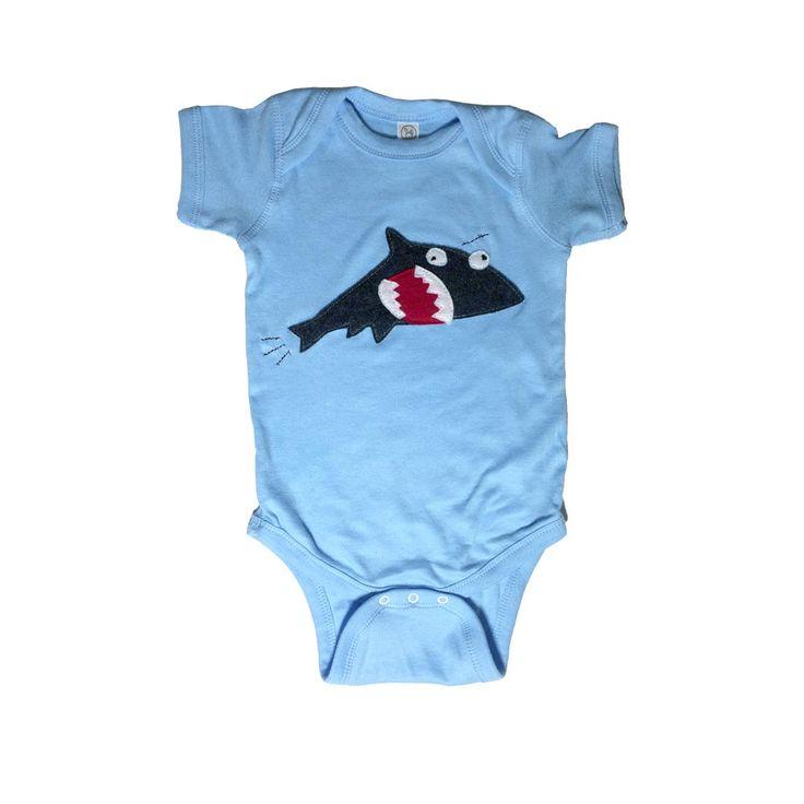 mi cielo x Matthew Langille - Shark & Fish – Blue Infant Bodysuit – Boys or Girls by micielomicielo on Etsy