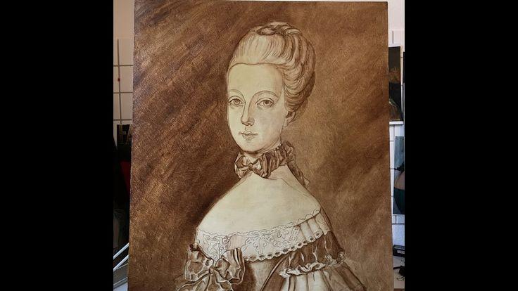 Flemish painting / Umber underlayer / work in progress / Princess