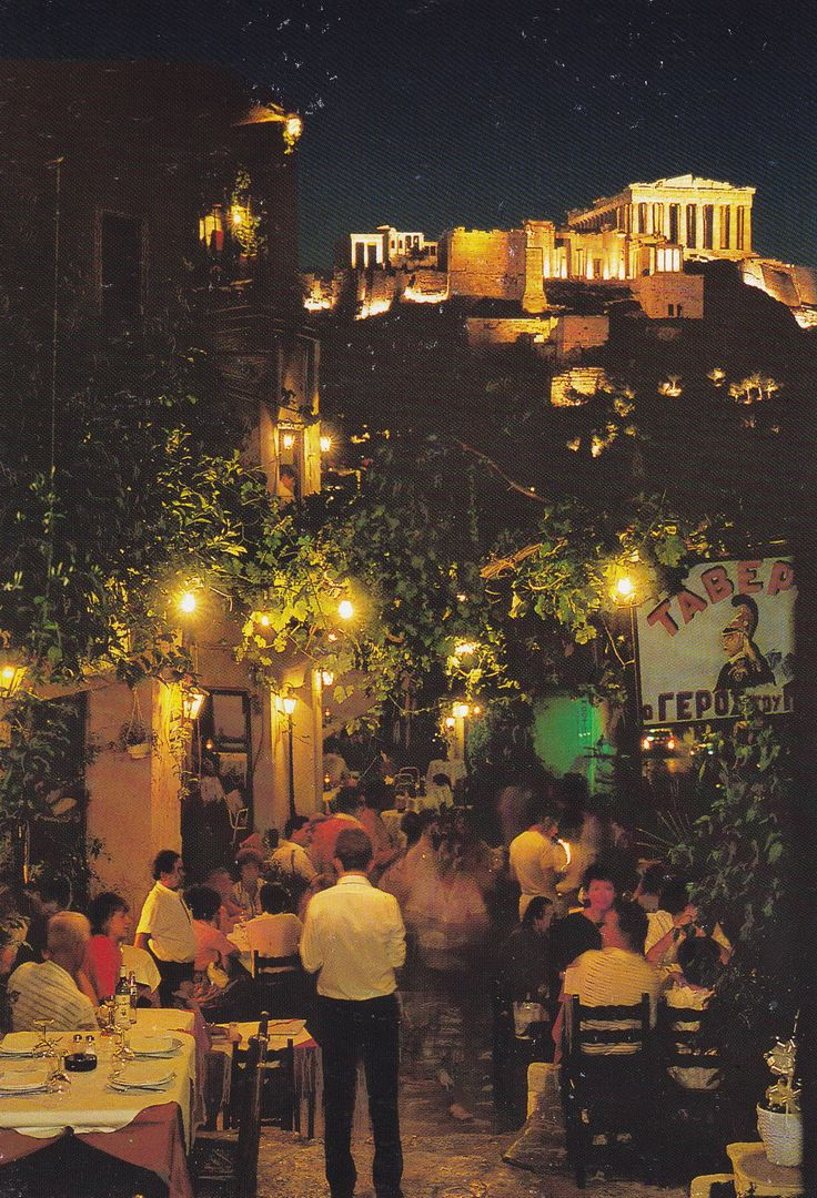 The plaka in Athens, with the Parthenon above.
