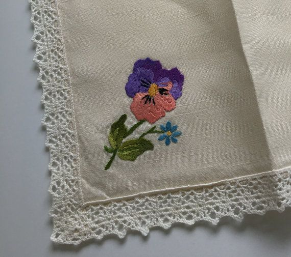 Beautiful Vintage Irish Linen Hand Embroidered by AHeartForVintage