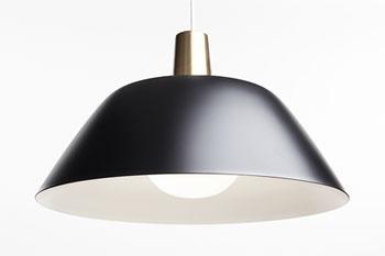 INNOLUX DESIGN Ihanne pendant lamp, black metal and white acryl by Lisa Johansson-Pape