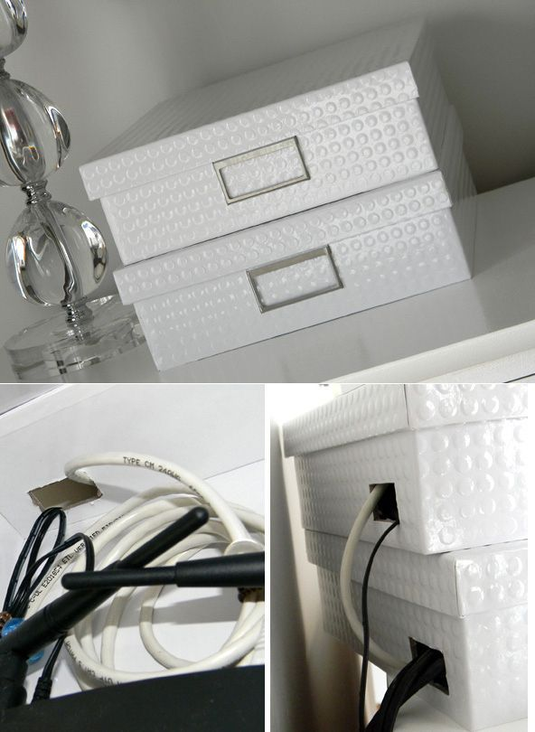 Conceal your router in fancy storage boxes. | 36 Genius Ways To Hide The…