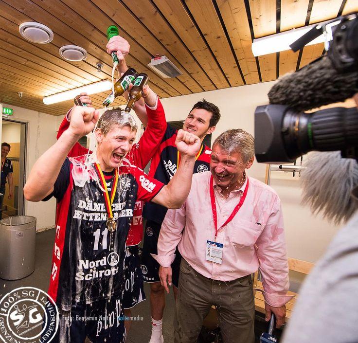 Beer shower in LjubosJungs style :D :D Lasse Svan , DHB Pokalsieger 2015  party , German, Danish style ;) SG Flensburg Handewitt  photo : Benjamin Nolte