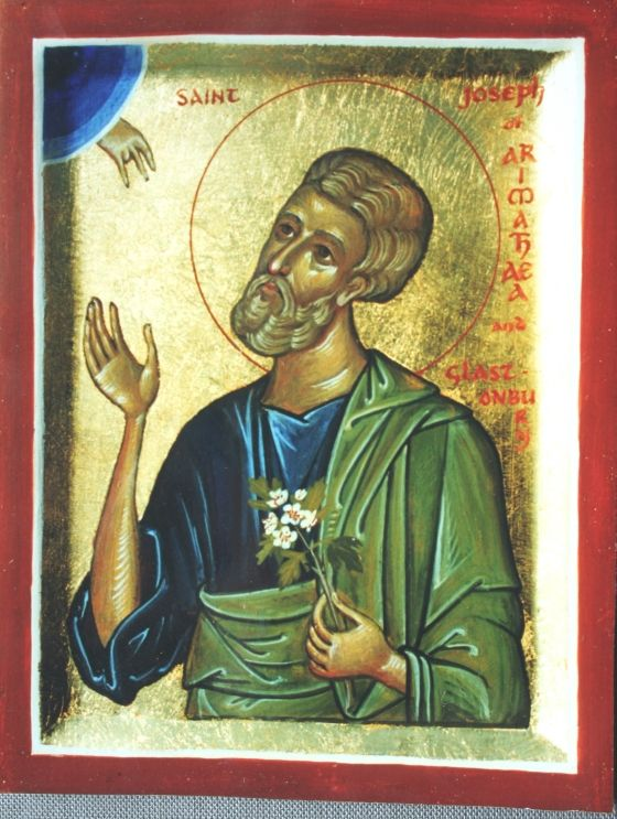 St. Joseph of Arimathea with Glastonbury thorn - Aidan Hart Sacred Icons