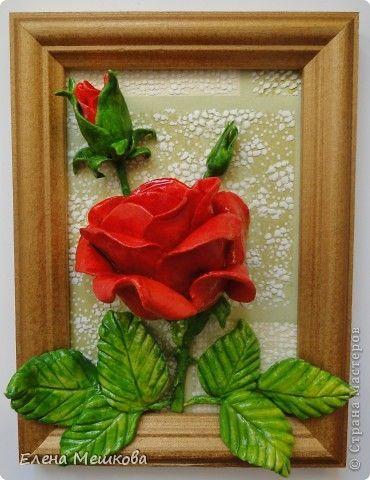 Картина панно рисунок Лепка Роза Тесто соленое