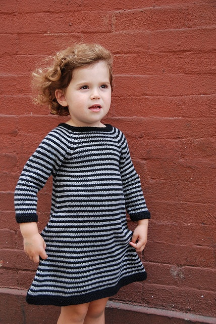striped knitted dress pattern in sizes 1yr, 2yr, 3yr, 4yr - $ 5 pattern