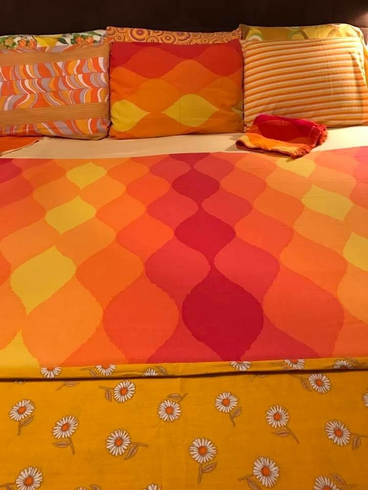 bed made up with vintage sheets remix including cannon seven seas in the color way suddenly iu0027m craving indian food