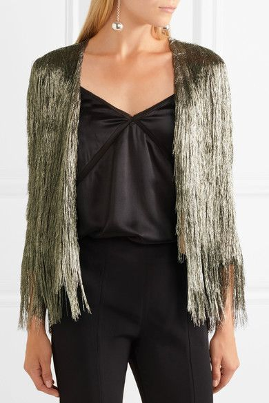 I love this fringed jacket!  Pewter rayon-blend Concealed hook fastening at front 65% rayon, 35% metallic fibers; lining: 100% polyester Spot clean
