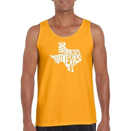 Los Angeles Pop Art Men's Tank Top - Don't Mess With Texas, Gold