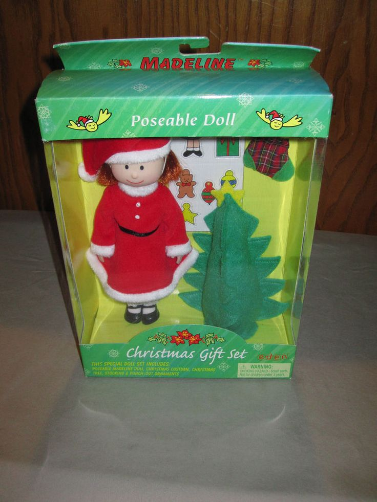 New In Box! Madeline Eden Madeline Doll Christmas Gift Set! Santa Outfit & Tree #EdenMadelineDoll #DollswithClothingAccessories