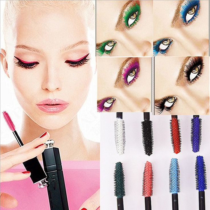Brand Professional Eyes Makeup Waterproof and Easy Remove Punk Blue White Red Black Purple Lengthen Eyelashes Color Mascara