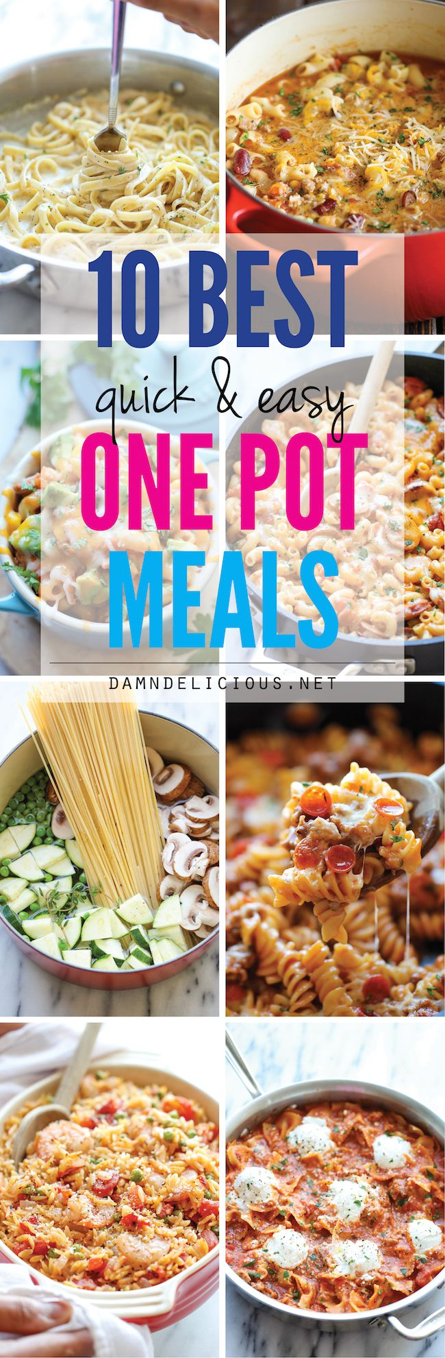10 Quick and Easy One Pot Meals - No-fuss one pot meals for those busy nights when you just don't have the time. Easy peasy with only one pan to clean up!