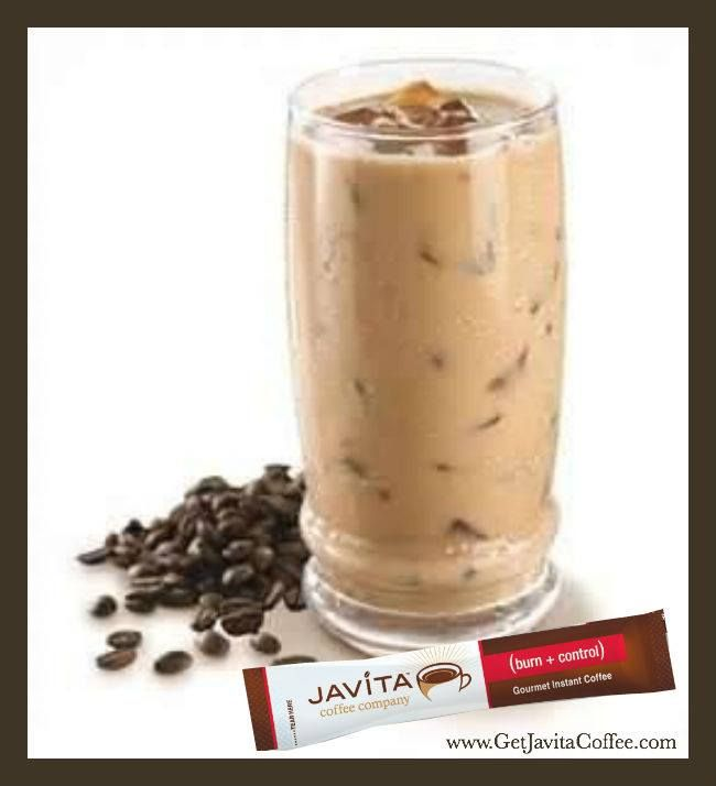 Javita Ice Cappuccino Recipe 8oz hot water 1 stick of Burn+Control 1 tablespoon of honey Mix together until all coffee and honey is dissolved. Freeze in ice cube tray. When ready to serve add 1/2 cup of cream or milk of your choice to the ice cubes in the blender. There you now have the most delicious Iced Cappuccino Coffee.