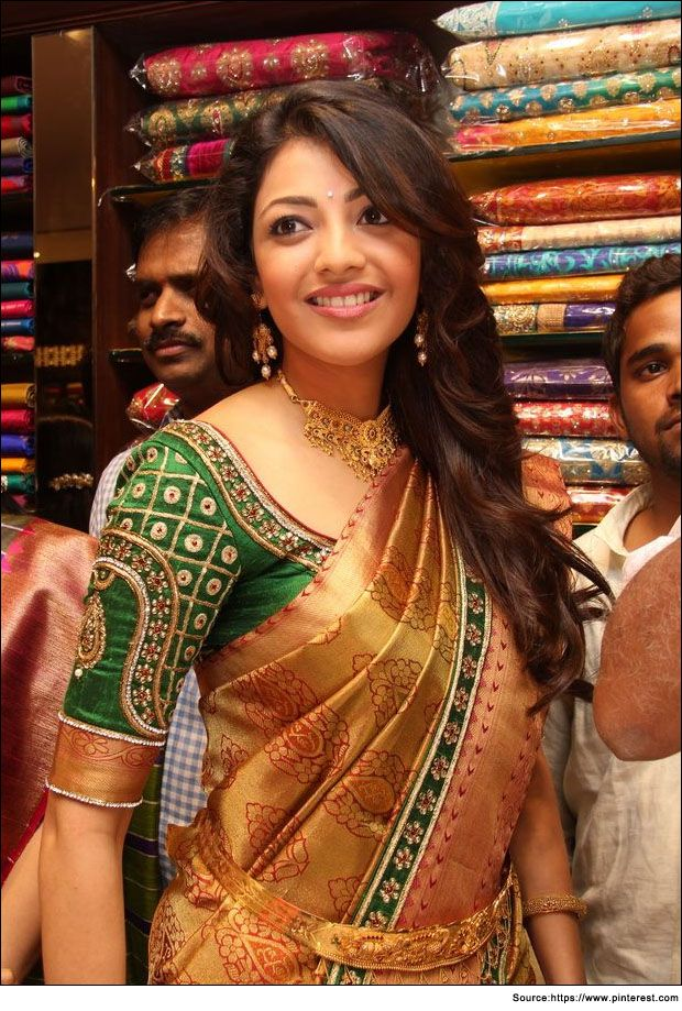 Lovely #Embroidery details on @actressKajal Agarwal's #Saree Blouse (& B'ful Gold Jewelry)