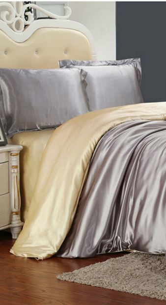 Buy SATIN DUVET SET SILK FLOSS. SUPER KING - 4 PIECE - SILVER AND CAMEL - MASSIVE DISCOUNTfor R850.00