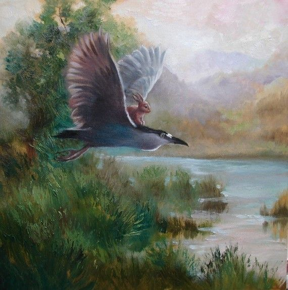 Isabella and Night Heron Print from oil  par PaintedMoonGallery, $18.00