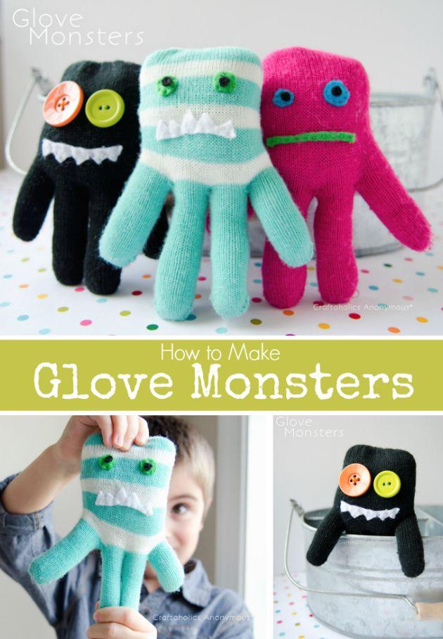 Nu het dan toch echt lente lijkt te worden, kun je de handschoenen omtoveren tot Handschoen Monsters. Via Craftaholics Anonymous Tutorial Sewing Glove Monsters Craftaholics anonymous