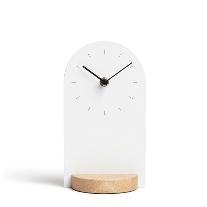 Часы настольные Umbra SOMETIME белые/натуральное дерево