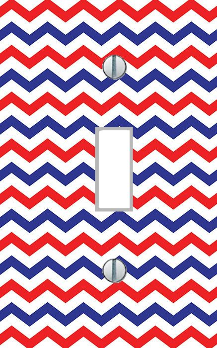 Light Switch Plate Red White Blue Chevron bedroom living room home decor USA #switch556