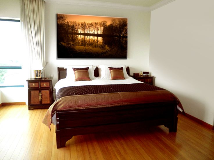 Nu Arte Canvas Pictures - Orange Sunset in forest, trees reflecting in water (Panoramic)