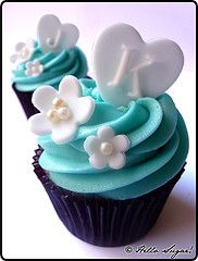 Monogram Wedding Cupcakes (sa - hello sugar!) Tags: wedding white cupcakes heart turquoise hellosugar