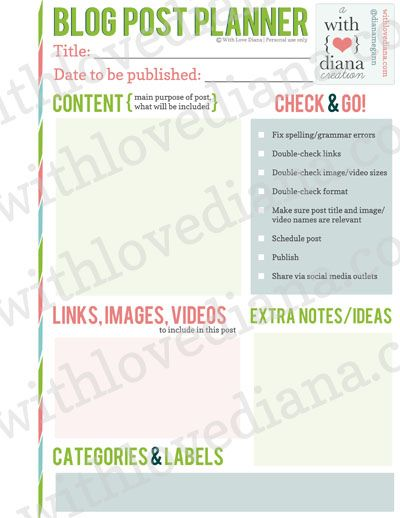 20 Printable Blog Planners. Tons of resources free. Free Printable: Blog Post Planner