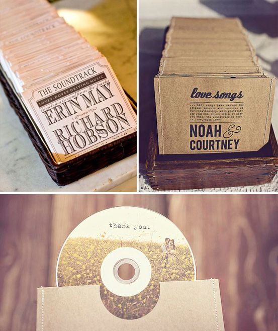 soundtrack wedding favors. this is way cute and probably not as expensive as a lot of other wedding favors.