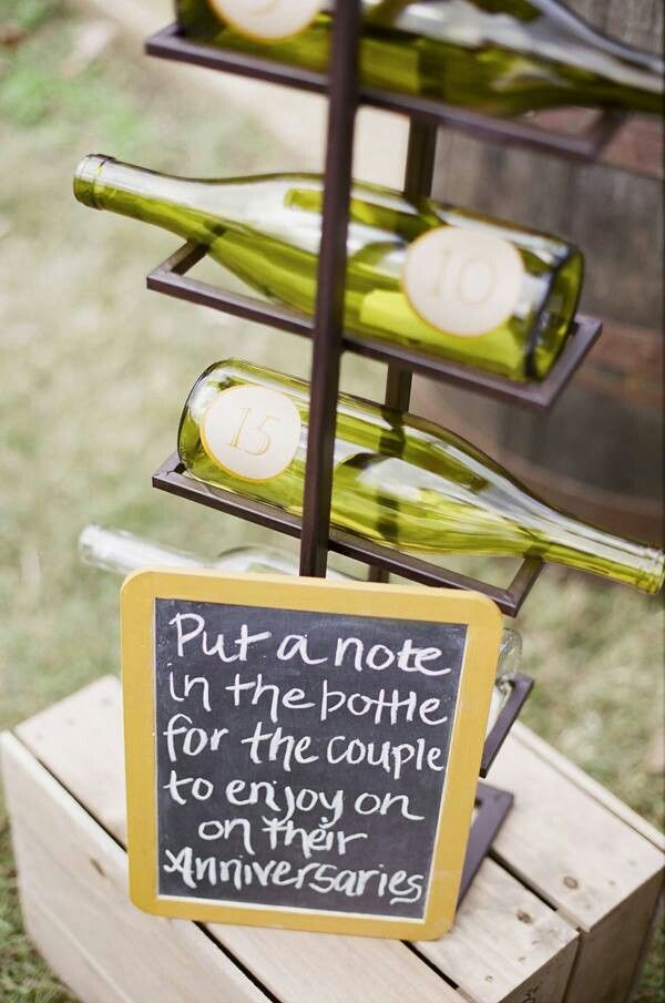 What a great idea, put your anniversary time capsule in a wine bottle!