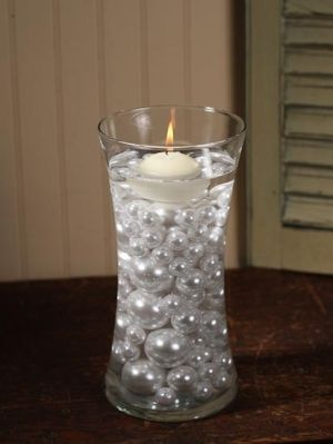 Floating Candle Centerpieces with pearls   floating candle Christmas centerpiece Christmas Table Decorations