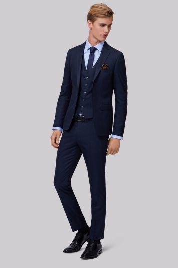 Moss Londýn Skinny Fit Navy Semi Plain Jacket Šedivé Obleky Mens Suits Pinterest Bros And